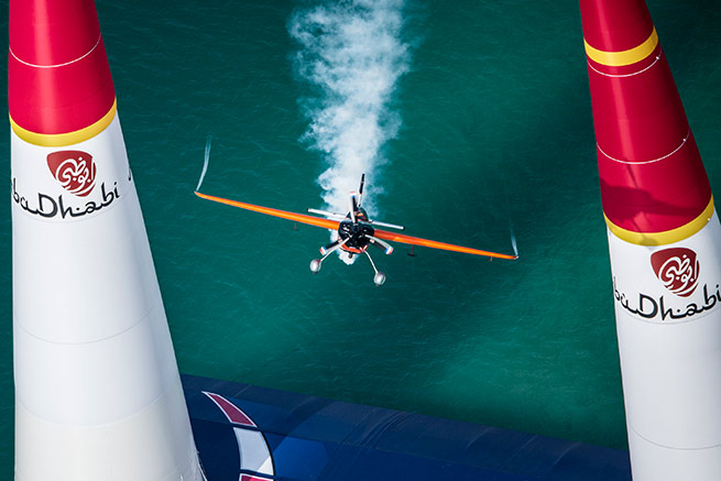 Nicholas Ivanoff of France performs during the race for the first stage of the Red Bull Air Race World Championship in Abu Dhabi, United Arab Emirates, on March 1, 2014. Photo by Balazs Gardi/Red Bull Content Pool.