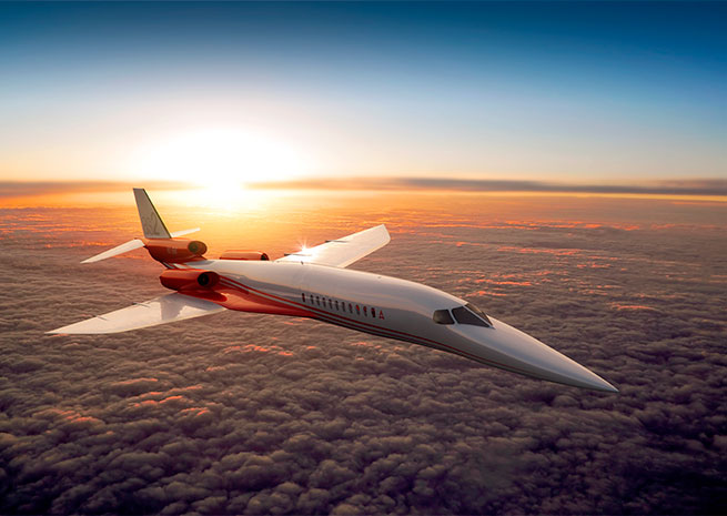 Aerion's supersonic business jet concept has expanded to a fuselage length of 160 feet, with a maximum takeoff weight of 115,000 pounds. Image courtesy of Aerion Corp.