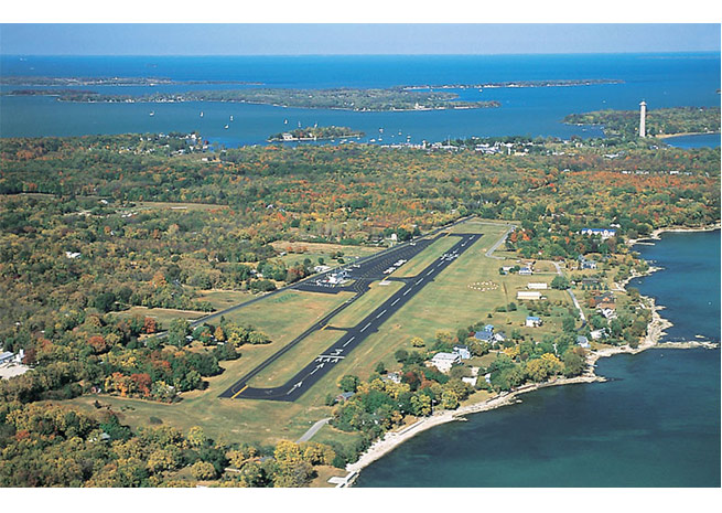 Aerial view of Put-in-Bay Airport (3W2) facing north. Photo by George A. Kounis.