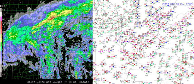 Bright banding in the Great Lakes area (above left) shows up as areas of high reflectivity, with a line of especially heavy returns that could indicate anything from melting snow to freezing rain to wet hail. Sometimes, it can be helpful to check the most recent surface analysis chart (above right) to determine if the surface temperatures are warm enough to ensure that the falling precipitation is indeed above freezing near the surface.
