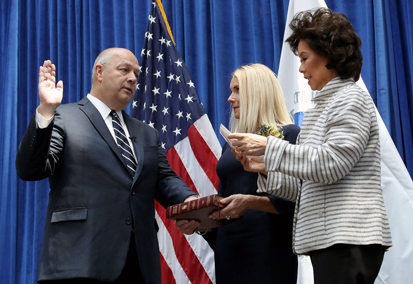 Stephen Dickson (L) is sworn in as FAA administrator by Transportation Secretary Elaine Chao (R) during a ceremony at the Department of Transportation Aug. 12, 2019, in Washington, DC. Dickson is a former commercial pilot and executive with Delta Air Lines. Photo by Win McNamee/Getty Images.