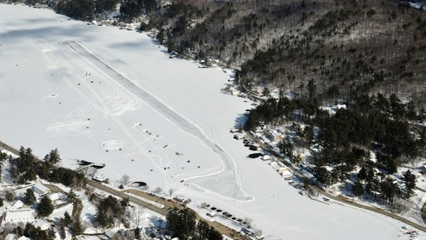 The Alton Bay ice airport from above. Photos by Mike Collins.
