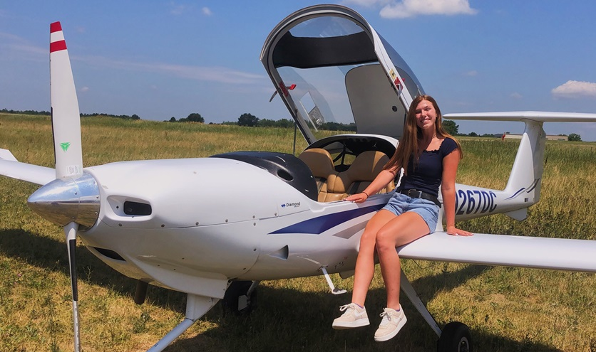 High school senior Madison 'Maddy' Seymour earned a private pilot certificate in November, with help from an AOPA scholarship. Photo courtesy of Madison Seymour.