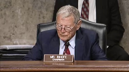 Sen. Jim Inhofe chairs a committee hearing about the Ligado Networks wireless network proposal on May 6. Image courtesy of the United States Senate Committee on Armed Service.