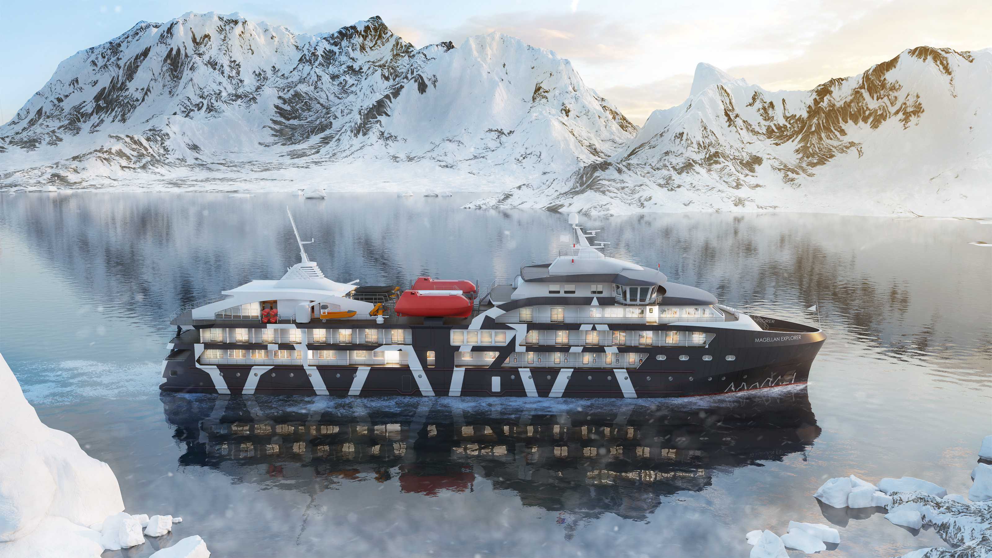 Rendering of Magellan Explorer. The 73-passenger vessel is scheduled to make its maiden voyage to the Antarctic on November 28. Graphic courtesy of Antarctica21.